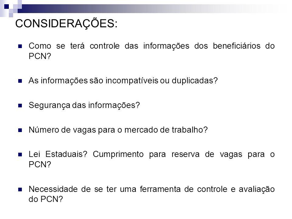 CONSIDERAÇÕES: Como se terá controle das informações dos beneficiários do PCN? As informações são incompatíveis ou duplicadas? Segurança das informaçõ