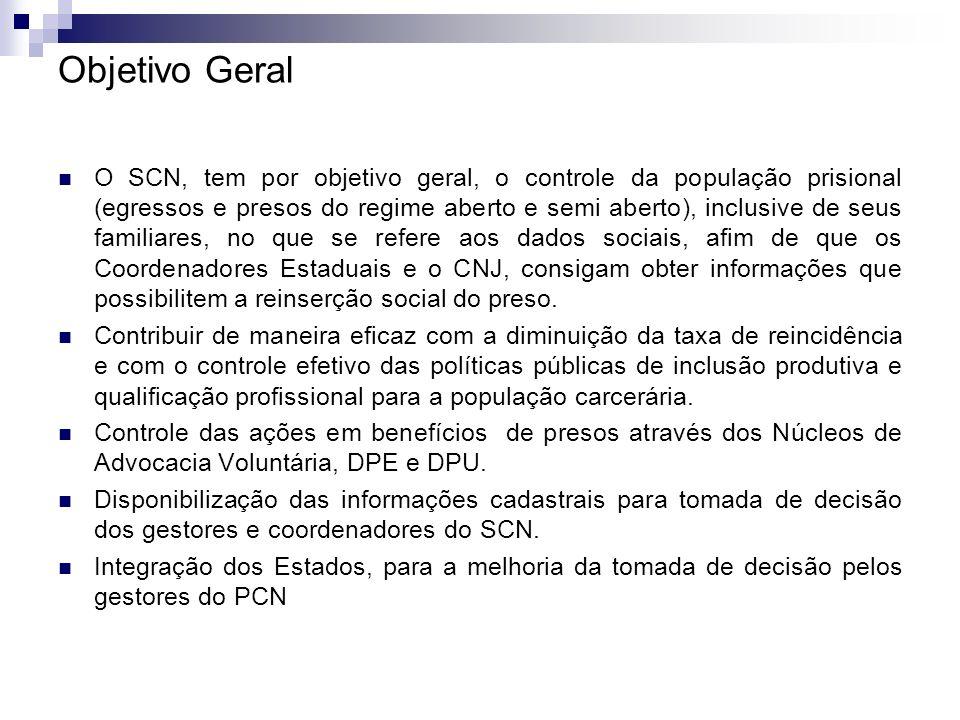 Objetivo Geral O SCN, tem por objetivo geral, o controle da população prisional (egressos e presos do regime aberto e semi aberto), inclusive de seus