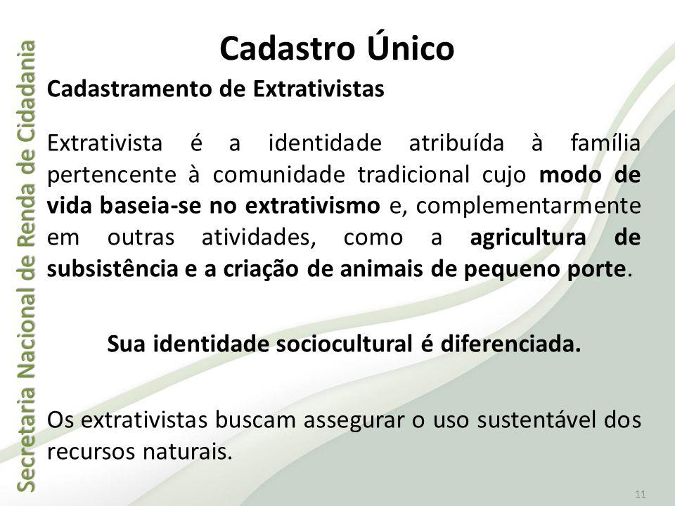 Secretaria Nacional de Renda de Cidadania Secretaria Nacional de Renda de Cidadania 11 Cadastramento de Extrativistas Extrativista é a identidade atri