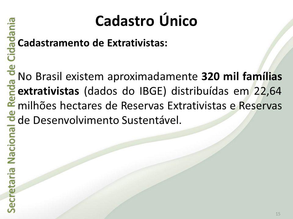 Secretaria Nacional de Renda de Cidadania Secretaria Nacional de Renda de Cidadania 15 Cadastro Único Cadastramento de Extrativistas: No Brasil existe