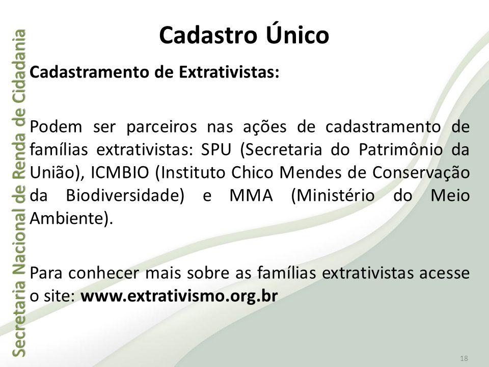 Secretaria Nacional de Renda de Cidadania Secretaria Nacional de Renda de Cidadania 18 Cadastro Único Cadastramento de Extrativistas: Podem ser parcei