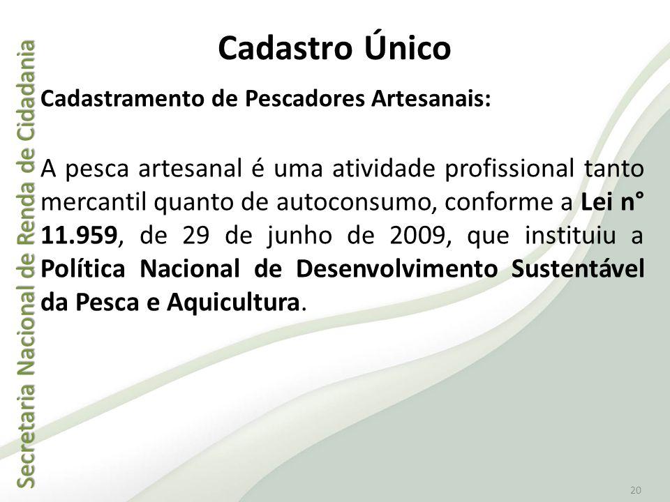 Secretaria Nacional de Renda de Cidadania Secretaria Nacional de Renda de Cidadania 20 Cadastro Único Cadastramento de Pescadores Artesanais: A pesca
