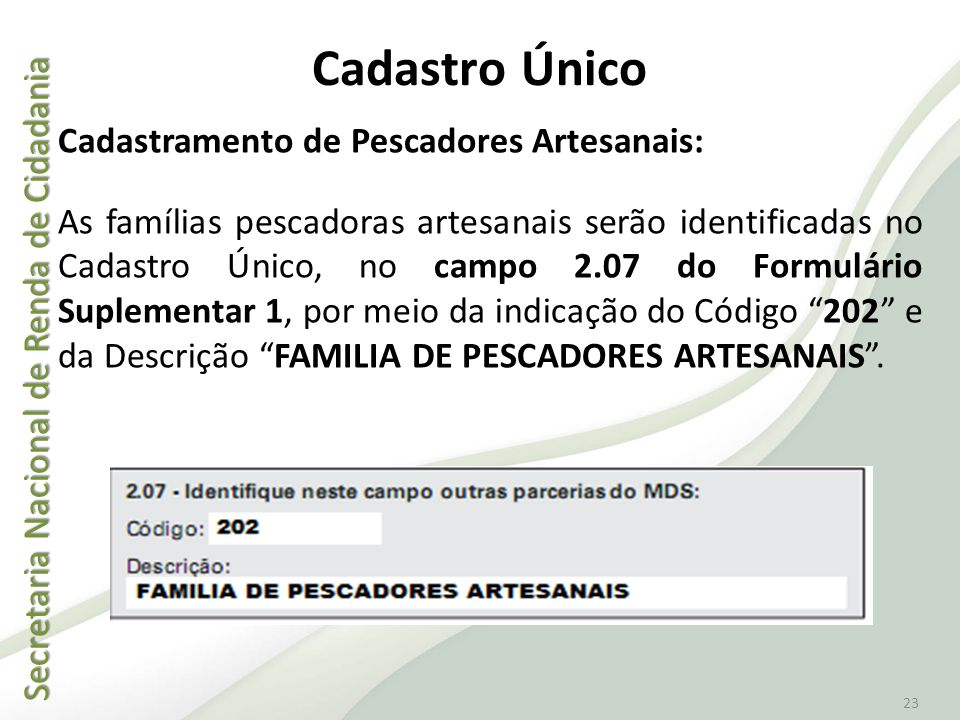 Secretaria Nacional de Renda de Cidadania Secretaria Nacional de Renda de Cidadania 23 Cadastro Único Cadastramento de Pescadores Artesanais: As famíl