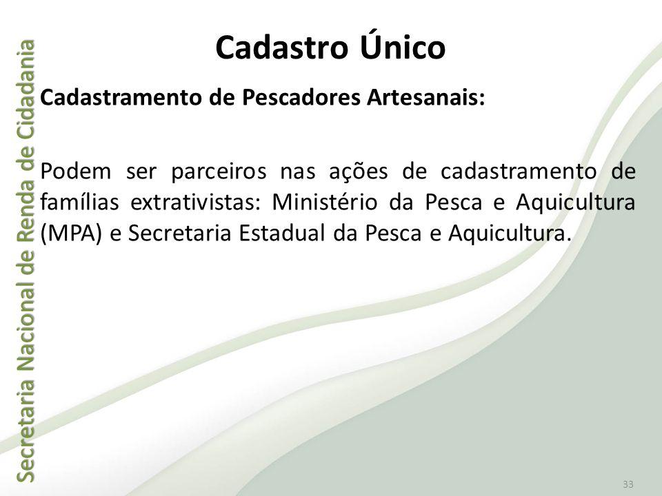 Secretaria Nacional de Renda de Cidadania Secretaria Nacional de Renda de Cidadania 33 Cadastro Único Cadastramento de Pescadores Artesanais: Podem se