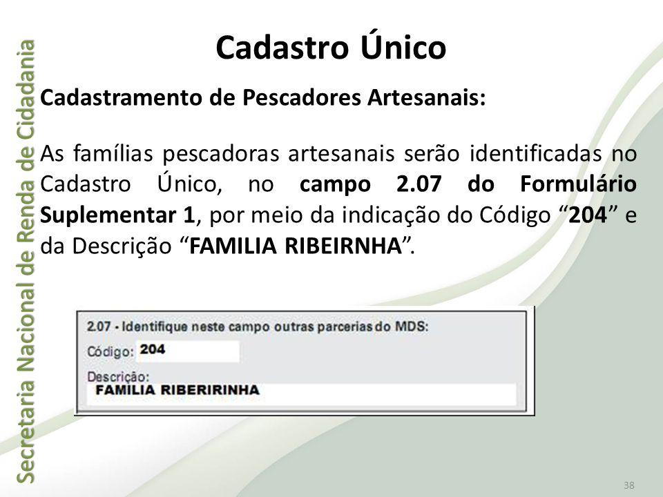 Secretaria Nacional de Renda de Cidadania Secretaria Nacional de Renda de Cidadania 38 Cadastro Único Cadastramento de Pescadores Artesanais: As famíl