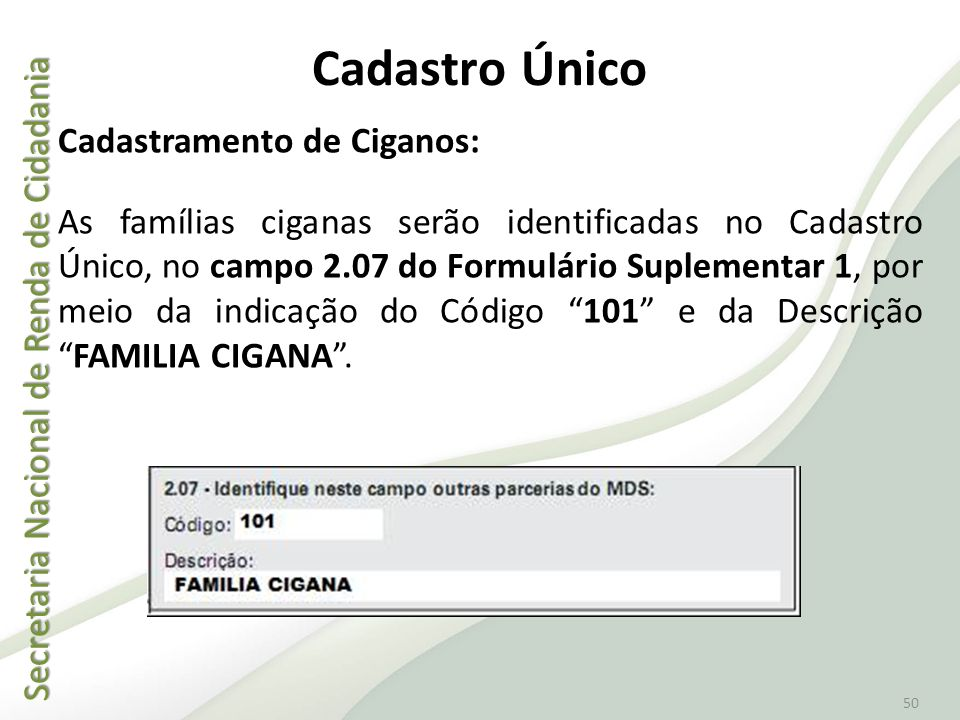 Secretaria Nacional de Renda de Cidadania Secretaria Nacional de Renda de Cidadania 50 Cadastro Único Cadastramento de Ciganos: As famílias ciganas se