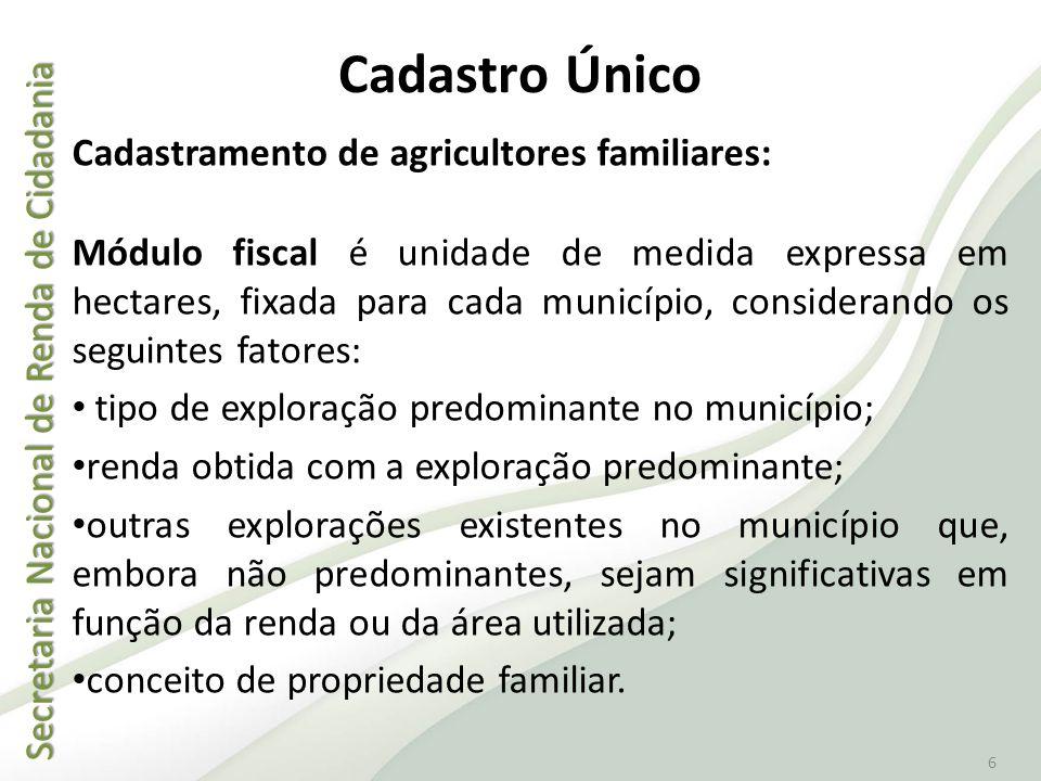 Secretaria Nacional de Renda de Cidadania Secretaria Nacional de Renda de Cidadania 6 Cadastro Único Cadastramento de agricultores familiares: Módulo