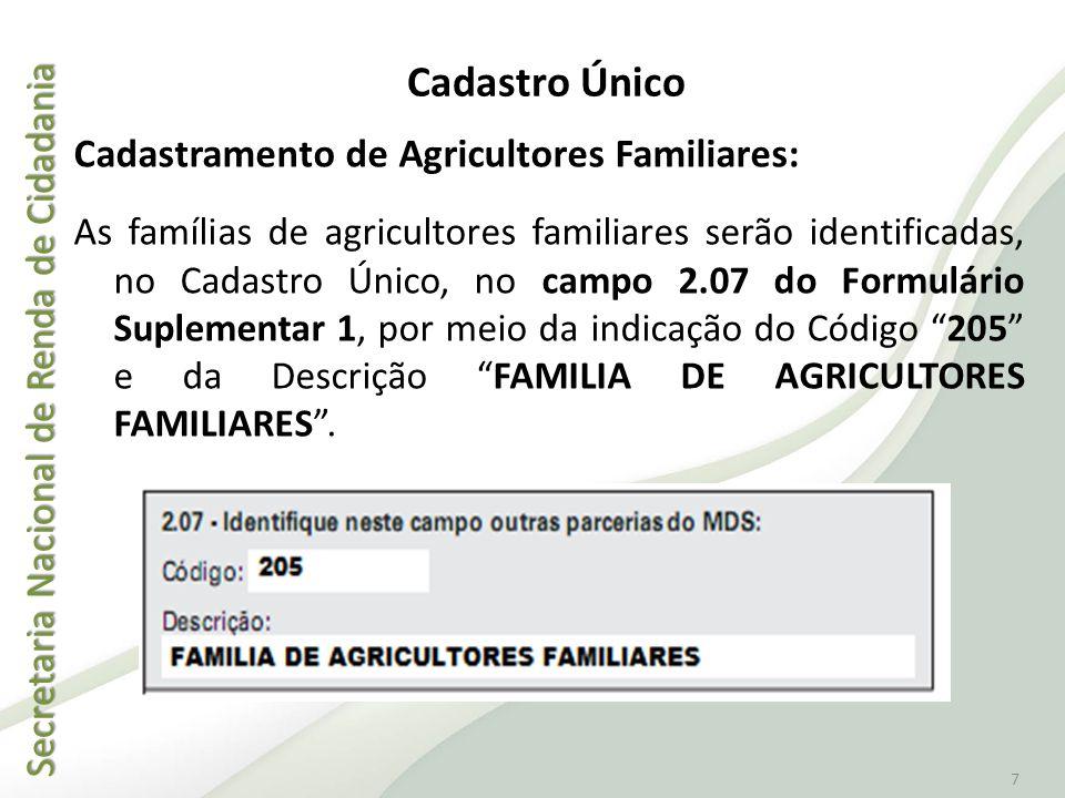 Secretaria Nacional de Renda de Cidadania Secretaria Nacional de Renda de Cidadania 7 Cadastramento de Agricultores Familiares: As famílias de agricul