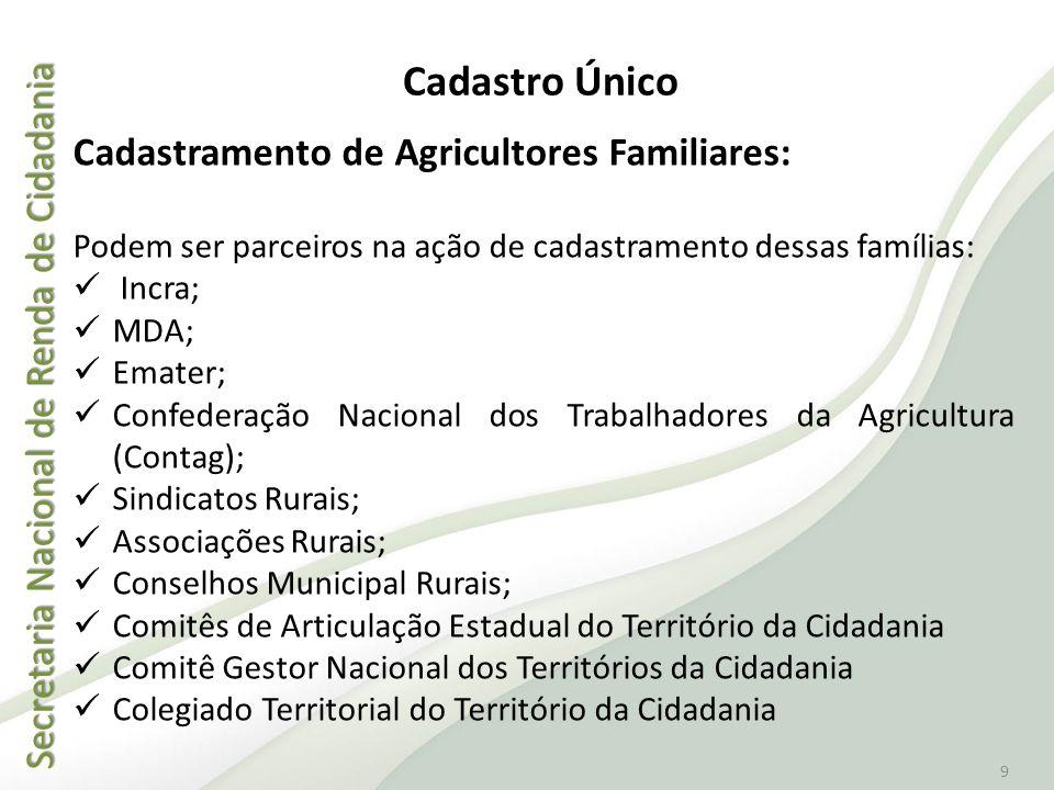 Secretaria Nacional de Renda de Cidadania Secretaria Nacional de Renda de Cidadania 9 Cadastramento de Agricultores Familiares: Podem ser parceiros na
