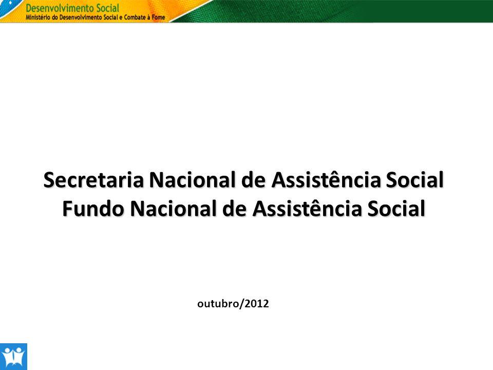 Secretaria Nacional de Assistência Social Fundo Nacional de Assistência Social outubro/2012