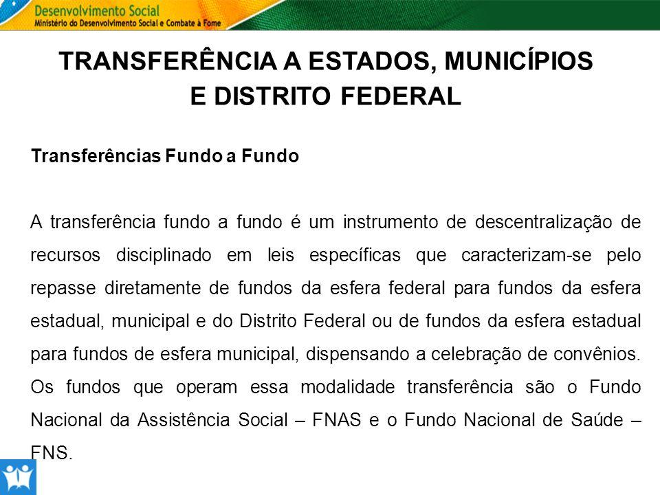 TRANSFERÊNCIA A ESTADOS, MUNICÍPIOS E DISTRITO FEDERAL Transferências Fundo a Fundo A transferência fundo a fundo é um instrumento de descentralização