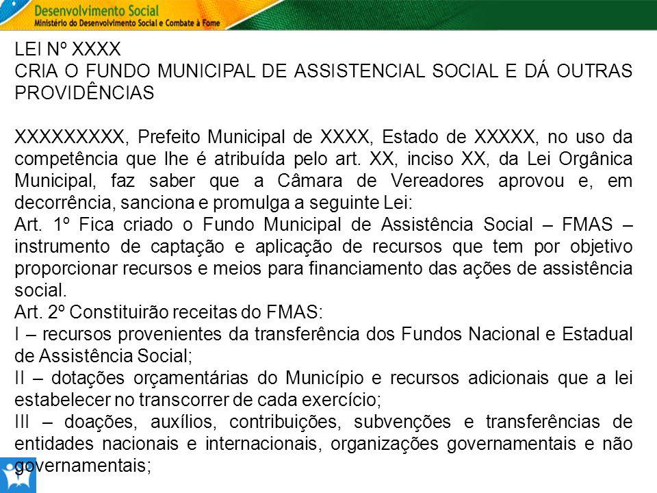 LEI Nº XXXX CRIA O FUNDO MUNICIPAL DE ASSISTENCIAL SOCIAL E DÁ OUTRAS PROVIDÊNCIAS XXXXXXXXX, Prefeito Municipal de XXXX, Estado de XXXXX, no uso da c