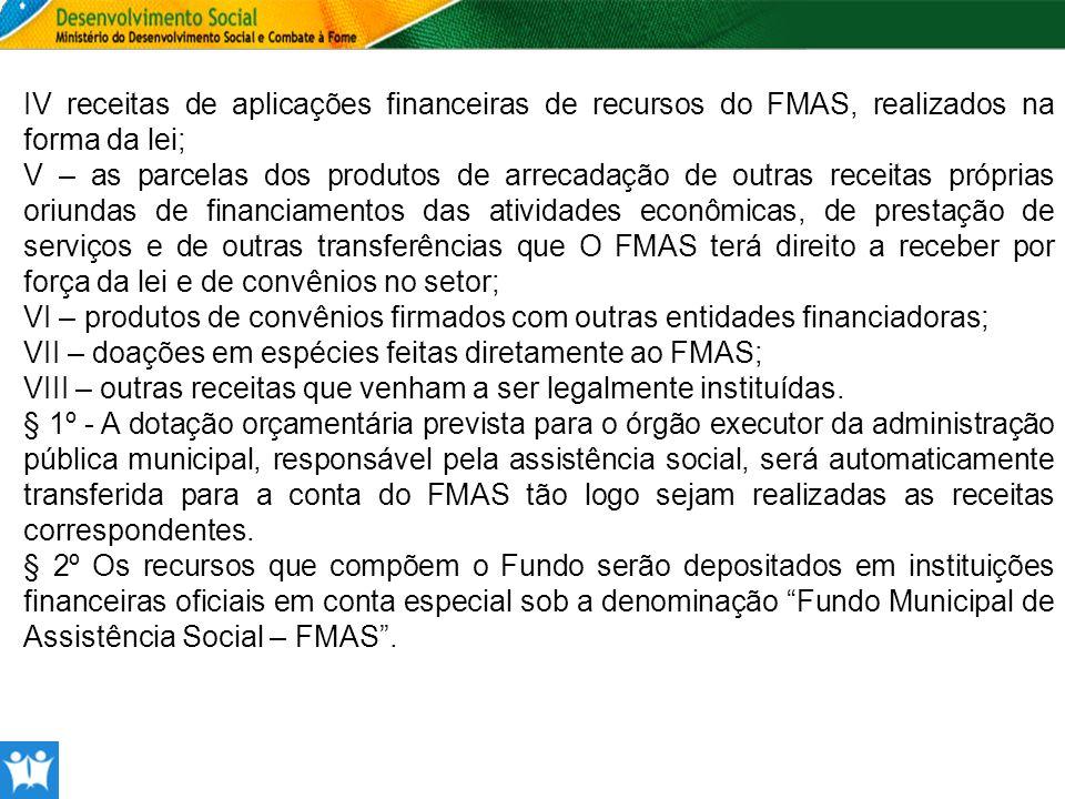 IV receitas de aplicações financeiras de recursos do FMAS, realizados na forma da lei; V – as parcelas dos produtos de arrecadação de outras receitas