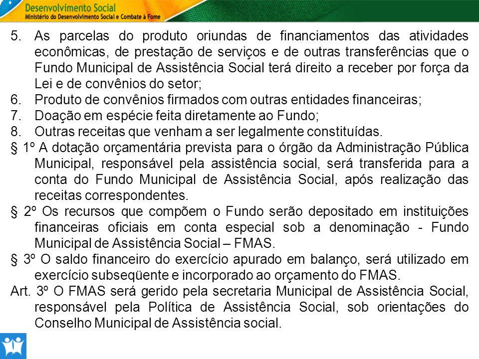 5.As parcelas do produto oriundas de financiamentos das atividades econômicas, de prestação de serviços e de outras transferências que o Fundo Municip