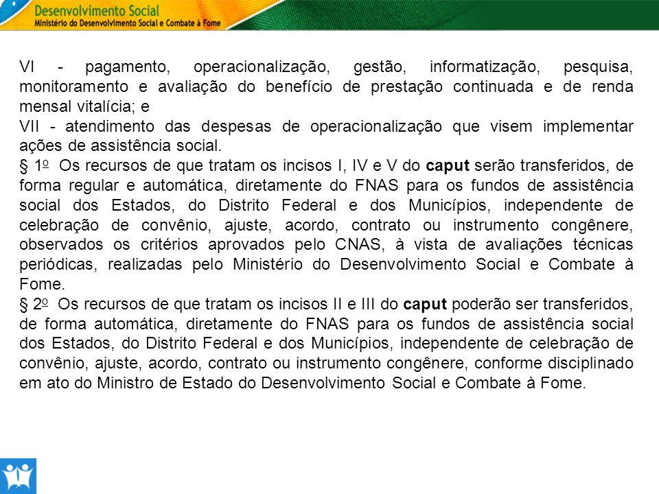 ESTRUTURA DO ORÇAMENTO 2012 - SECRETARIA NACIONAL DE ASSISTÊNCIA SOCIAL – UO FNAS FNAS PROGRAMA/ AÇÃOPROGRAMA/ATIVIDADEPLOA 2012META FNAS 2037Fortalecimento do SUASFUNCIONALGNDMODFONTEVALOR Proteção Social Básica 2583 Serviços de Processamento de Dados do Benefício de Prestação Continuada e da Renda Mensal Vitalícia 08.1263901510,00 benefícios processados 2589 Avaliação e operacionalização do Benefício de Prestação Continuada da Assistência Social e Manutenção da Renda Mensal Vitalícia 08.1253901510,00 benefícios avaliados 2A60Serviços de Proteção Social Básica às famílias08.2443411510,00 municípios 2B30Estruturação da Rede de Serviços de Proteção Social Básica08.2444401000,00 unidades estruturadas 2B30 Estruturação da Rede de Serviços de Proteção Social Básica08.2443401000,00 unidades estruturadas Proteção Social Especial 2A65Serviço de Proteção Social Especial de Média Complexidade08.2443411510,00 municípios 2A69Serviços de Proteção Social Especial de Alta Complexidade08.2443411510,00 municípios 2B31Estruturação da Rede de Serviços de Proteção Social Especial08.2443401510,00 unidades estruturadas Gestão do SUAS 8893 Apoio à Organização, à Gestão e à Vigilância Social no Território, no âmbito do Sistema Único de Assistência Social - SUAS 08.2443411510,00 entes federativos apoiados 2062Promoção dos Direitos da Criança e do Adolescente 8662Concessão de Bolsa a Crianças e Adolescente em situação de trabalho08.2443901510,00 criança/adolescent es 2060Ações Socioeducativas para crianças em situação de trabalho08.2433411510,00 criança/adolescent es TOTAL DISCRICIONÁRIAS0,00 0901Operações Especiais06180251 0005Cumprimento de Sentença Judicial Transitada em Julgado (Precatórios)28.8463901510,00 0625Cumprimento de Sentença Judicial Transitada em Julgado (Pequeno Valor)28.8463901000,00 2037Fortalecimento do SUAS16.4836180306 00H5Benefício de Prestação Continuada e Renda Mensal Vitalícia por Idade08.2413901530,00 pessoas atendidas 00IN Benefício de Prestação Continuada e Renda