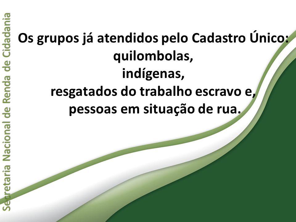 Secretaria Nacional de Renda de Cidadania Secretaria Nacional de Renda de Cidadania Os grupos já atendidos pelo Cadastro Único: quilombolas, indígenas