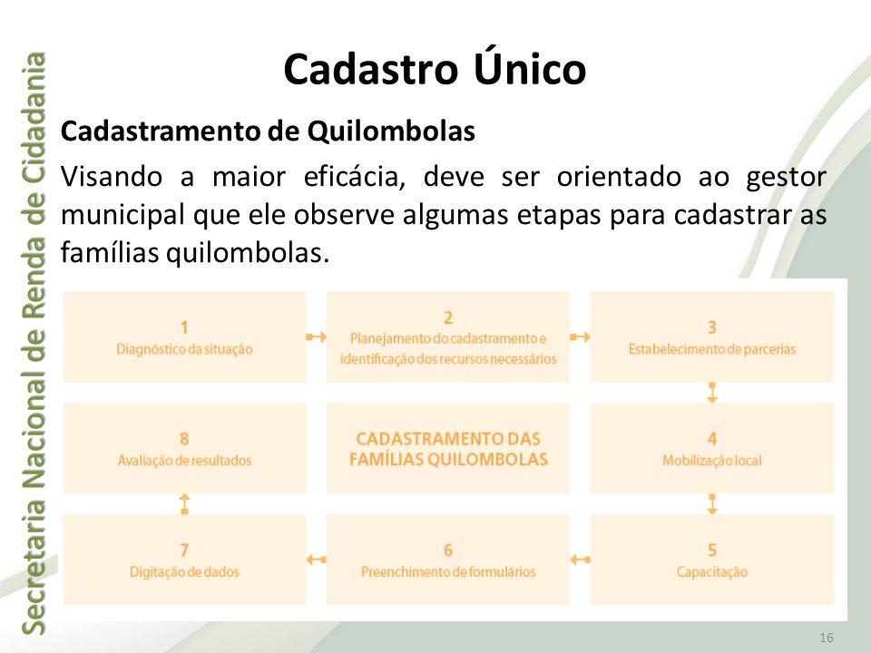 Secretaria Nacional de Renda de Cidadania Secretaria Nacional de Renda de Cidadania 16 Cadastro Único Cadastramento de Quilombolas Visando a maior efi