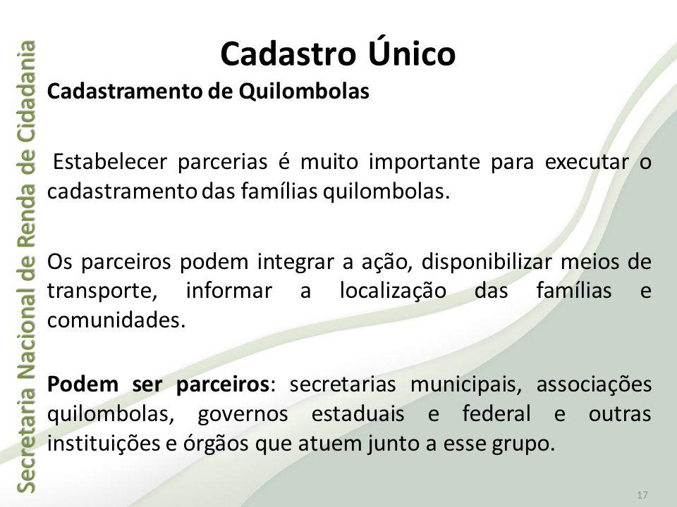 Secretaria Nacional de Renda de Cidadania Secretaria Nacional de Renda de Cidadania 17 Cadastro Único Cadastramento de Quilombolas Estabelecer parceri