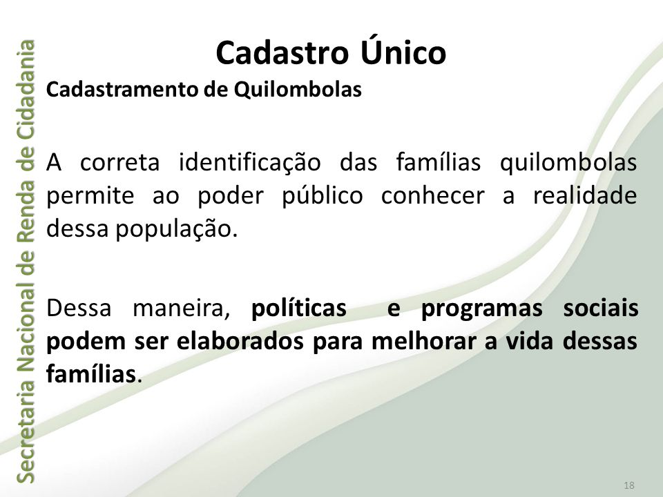 Secretaria Nacional de Renda de Cidadania Secretaria Nacional de Renda de Cidadania 18 Cadastro Único Cadastramento de Quilombolas A correta identific