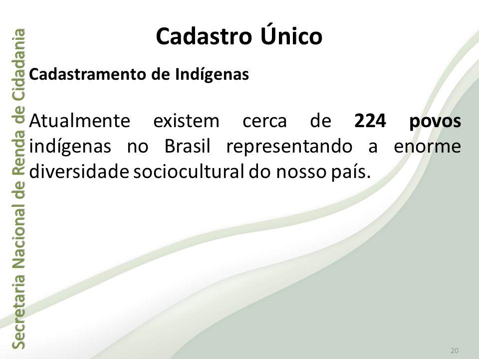 Secretaria Nacional de Renda de Cidadania Secretaria Nacional de Renda de Cidadania 20 Cadastramento de Indígenas Atualmente existem cerca de 224 povo