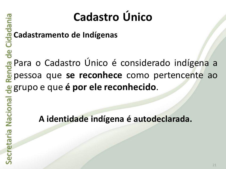 Secretaria Nacional de Renda de Cidadania Secretaria Nacional de Renda de Cidadania 21 Cadastramento de Indígenas Para o Cadastro Único é considerado