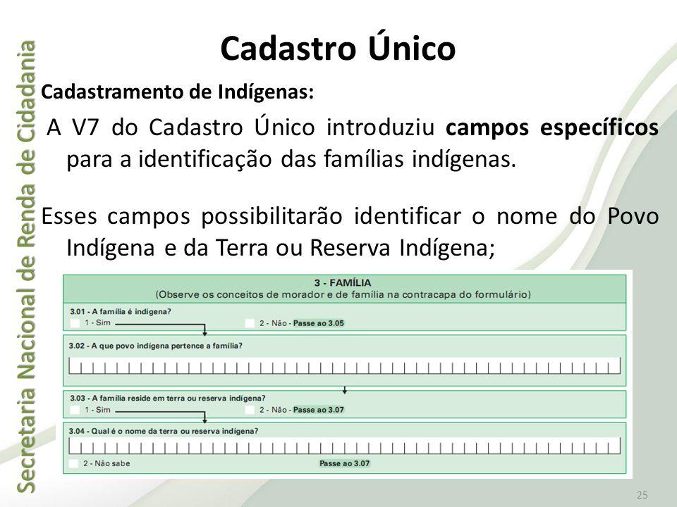 Secretaria Nacional de Renda de Cidadania Secretaria Nacional de Renda de Cidadania 25 Cadastro Único Cadastramento de Indígenas: A V7 do Cadastro Úni