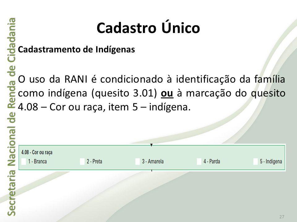 Secretaria Nacional de Renda de Cidadania Secretaria Nacional de Renda de Cidadania 27 Cadastramento de Indígenas O uso da RANI é condicionado à ident