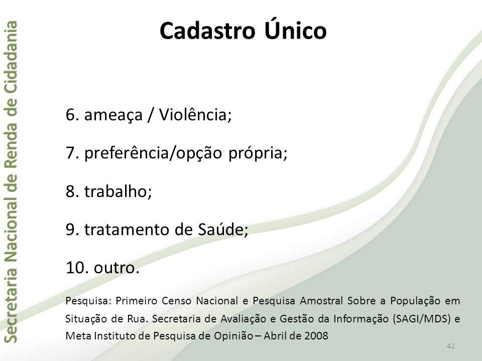 Secretaria Nacional de Renda de Cidadania Secretaria Nacional de Renda de Cidadania 42 6. ameaça / Violência; 7. preferência/opção própria; 8. trabalh