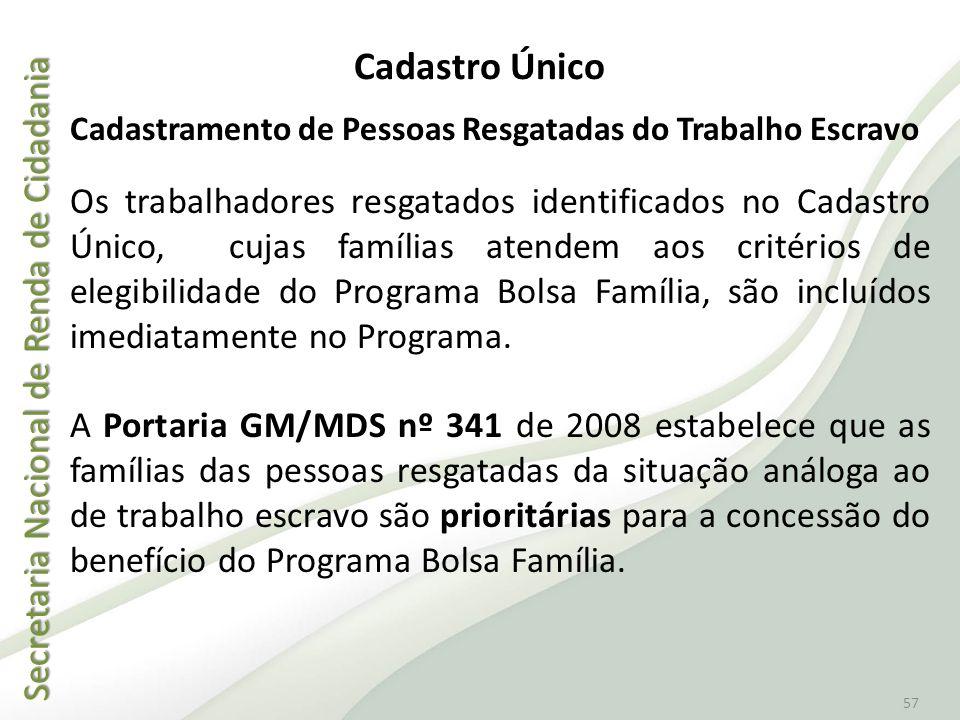 Secretaria Nacional de Renda de Cidadania Secretaria Nacional de Renda de Cidadania 57 Cadastro Único Cadastramento de Pessoas Resgatadas do Trabalho