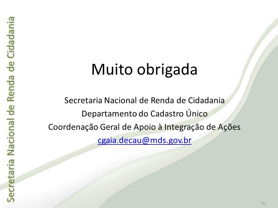 Secretaria Nacional de Renda de Cidadania Secretaria Nacional de Renda de Cidadania 62 Muito obrigada Secretaria Nacional de Renda de Cidadania Depart
