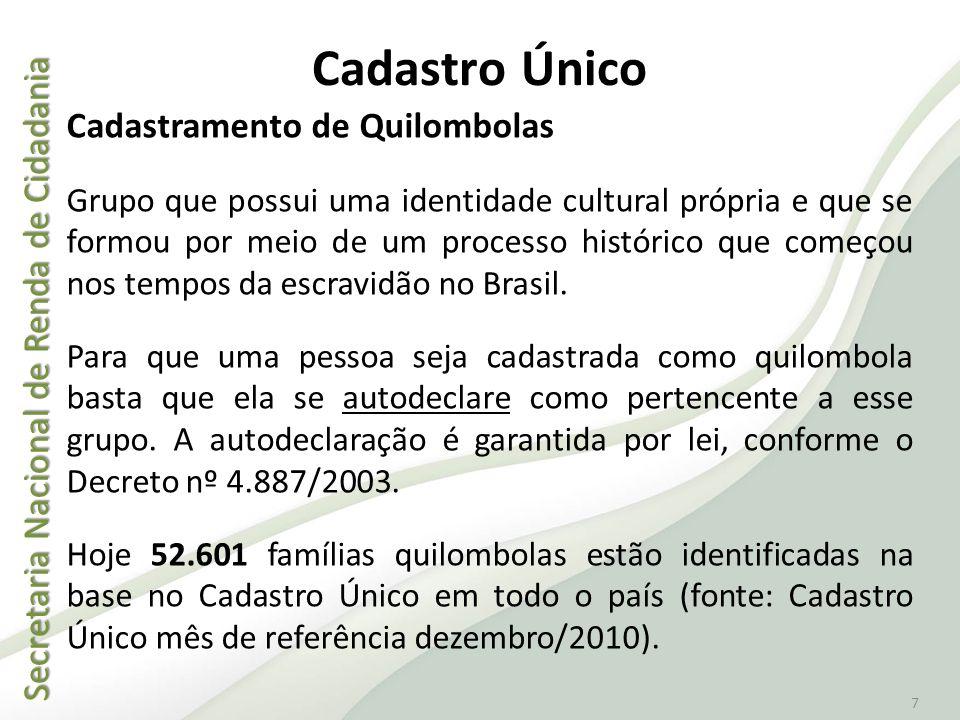 Secretaria Nacional de Renda de Cidadania Secretaria Nacional de Renda de Cidadania 7 Cadastramento de Quilombolas Grupo que possui uma identidade cul