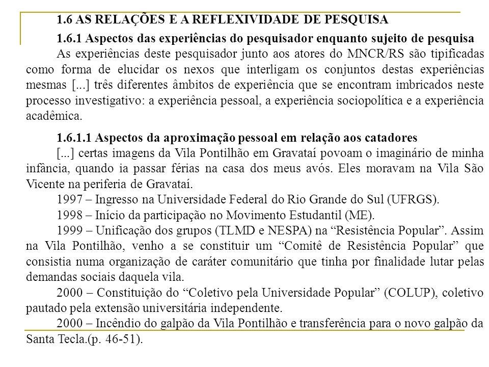 1.6.1.2 Aspectos da experiência de engajamento sociopolítico 2001 – Fundação do Movimento Nacional dos Catadores de Materiais Recicláveis (MNCR).