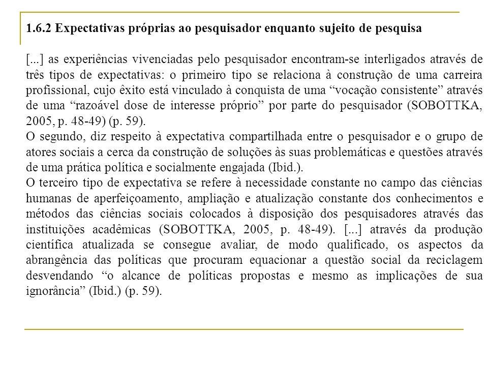 Engajamento Retribuição Profissionalização Reflexividade Conjuntos de experiências e expectativas do pesquisador em relação à sua própria pesquisa Fonte: O autor (2010)
