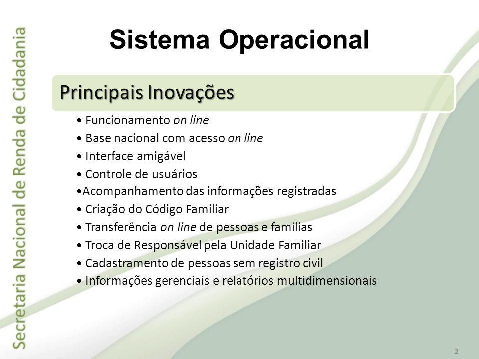 Principais Inovações Funcionamento on line Base nacional com acesso on line Interface amigável Controle de usuários Acompanhamento das informações reg
