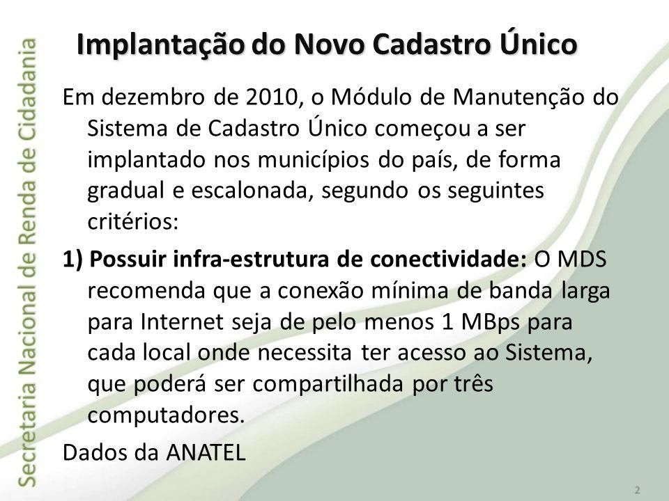 Em dezembro de 2010, o Módulo de Manutenção do Sistema de Cadastro Único começou a ser implantado nos municípios do país, de forma gradual e escalonad