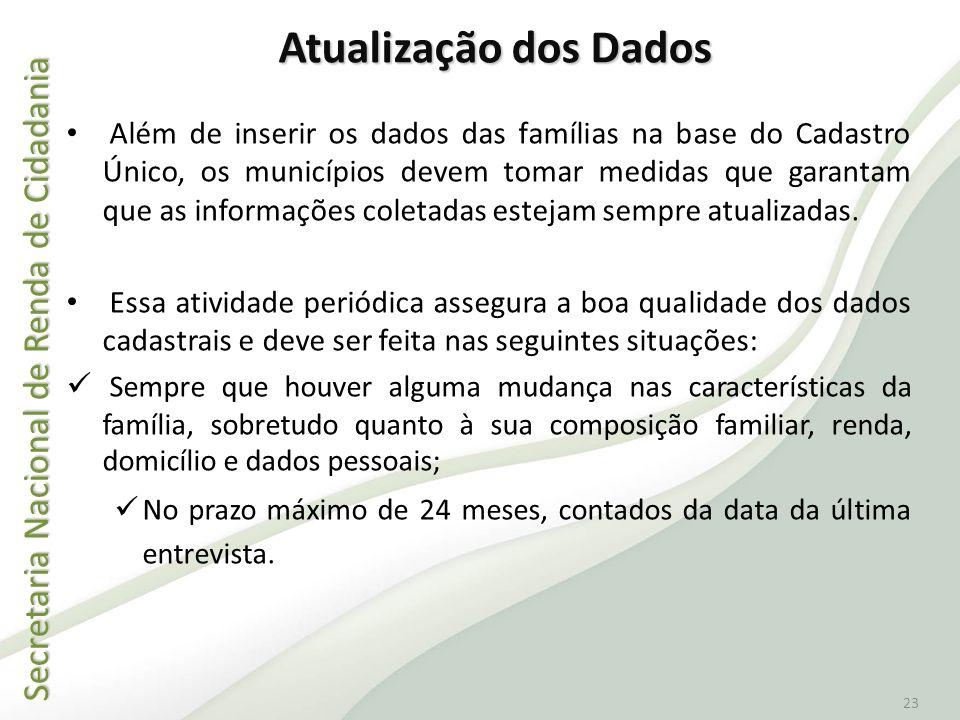 Secretaria Nacional de Renda de Cidadania Secretaria Nacional de Renda de Cidadania 23 Além de inserir os dados das famílias na base do Cadastro Único