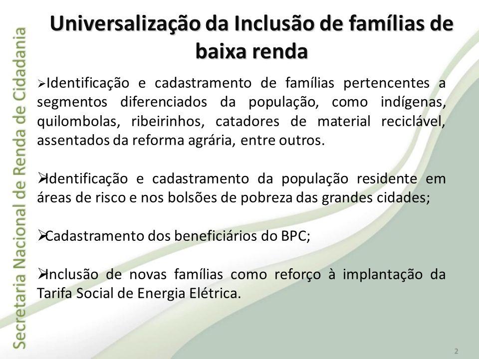 Universalização da Inclusão de famílias de baixa renda Identificação e cadastramento de famílias pertencentes a segmentos diferenciados da população,