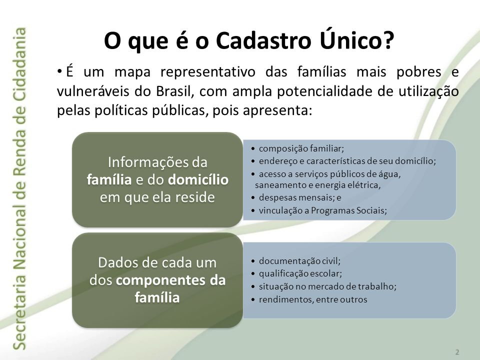É um mapa representativo das famílias mais pobres e vulneráveis do Brasil, com ampla potencialidade de utilização pelas políticas públicas, pois apres