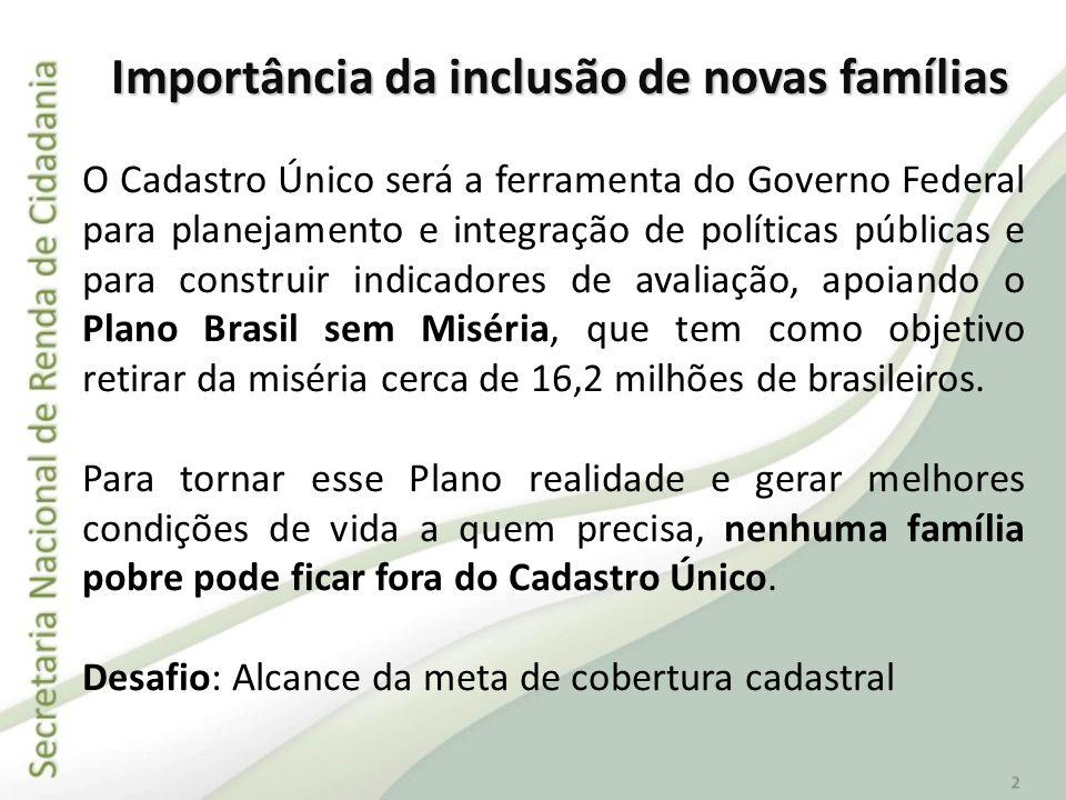 Importância da inclusão de novas famílias O Cadastro Único será a ferramenta do Governo Federal para planejamento e integração de políticas públicas e