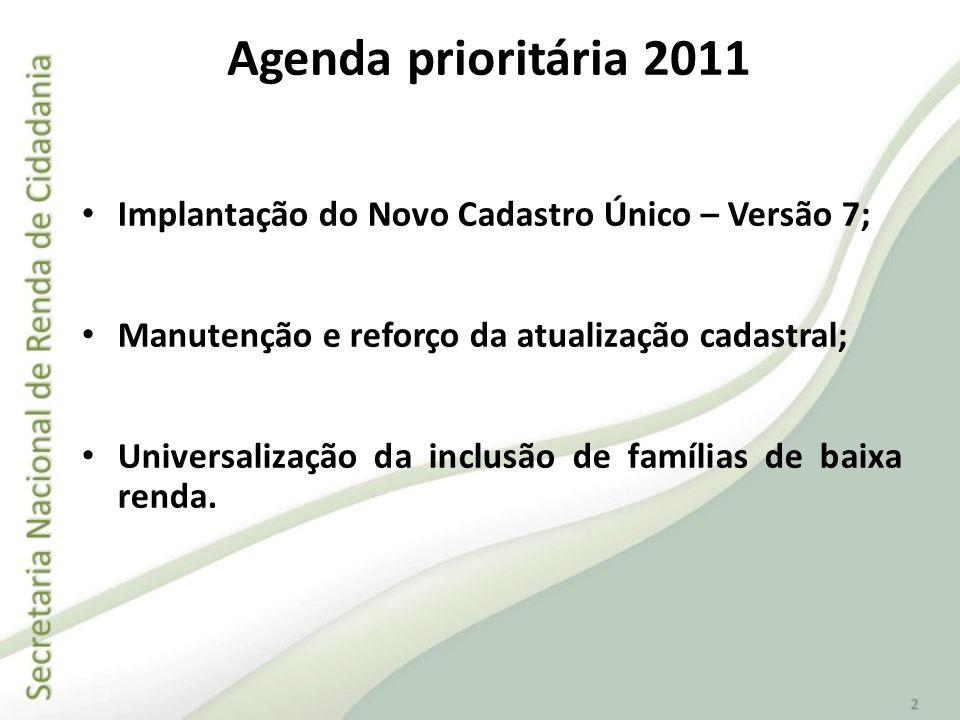 Agenda prioritária 2011 Implantação do Novo Cadastro Único – Versão 7; Manutenção e reforço da atualização cadastral; Universalização da inclusão de f