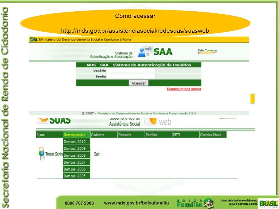 Como acessar http://mds.gov.br/assistenciasocial/redesuas/suasweb