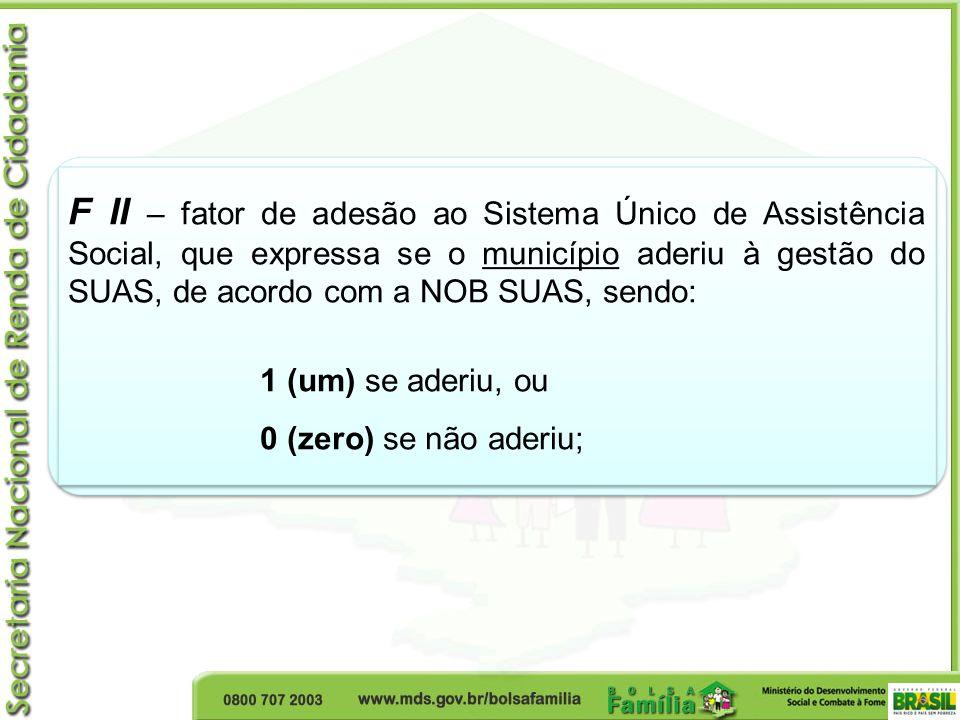 F II – fator de adesão ao Sistema Único de Assistência Social, que expressa se o município aderiu à gestão do SUAS, de acordo com a NOB SUAS, sendo: 1