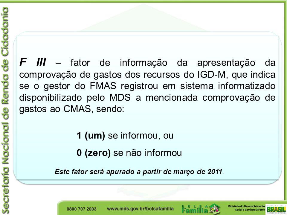 F III – fator de informação da apresentação da comprovação de gastos dos recursos do IGD-M, que indica se o gestor do FMAS registrou em sistema inform