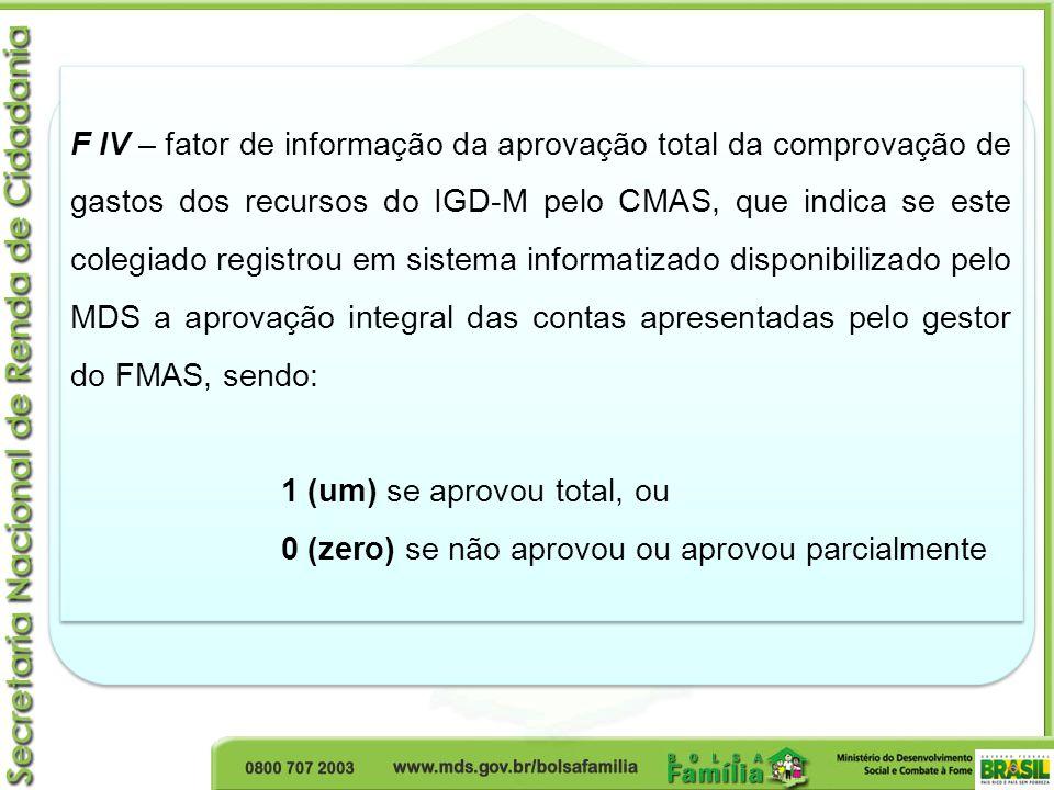 F IV – fator de informação da aprovação total da comprovação de gastos dos recursos do IGD-M pelo CMAS, que indica se este colegiado registrou em sist