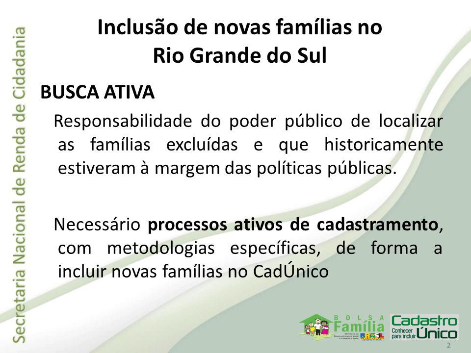 Inclusão de novas famílias no Rio Grande do Sul BUSCA ATIVA Responsabilidade do poder público de localizar as famílias excluídas e que historicamente