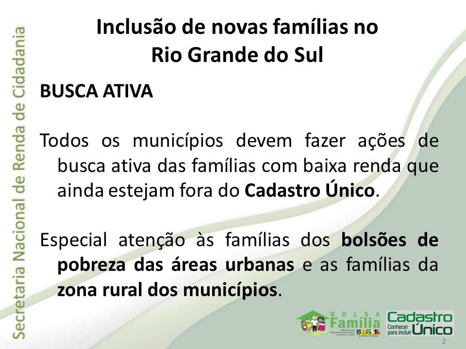Inclusão de novas famílias no Rio Grande do Sul BUSCA ATIVA Todos os municípios devem fazer ações de busca ativa das famílias com baixa renda que aind