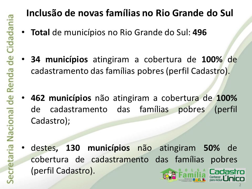 Inclusão de novas famílias no Rio Grande do Sul Total de municípios no Rio Grande do Sul: 496 34 municípios atingiram a cobertura de 100% de cadastram