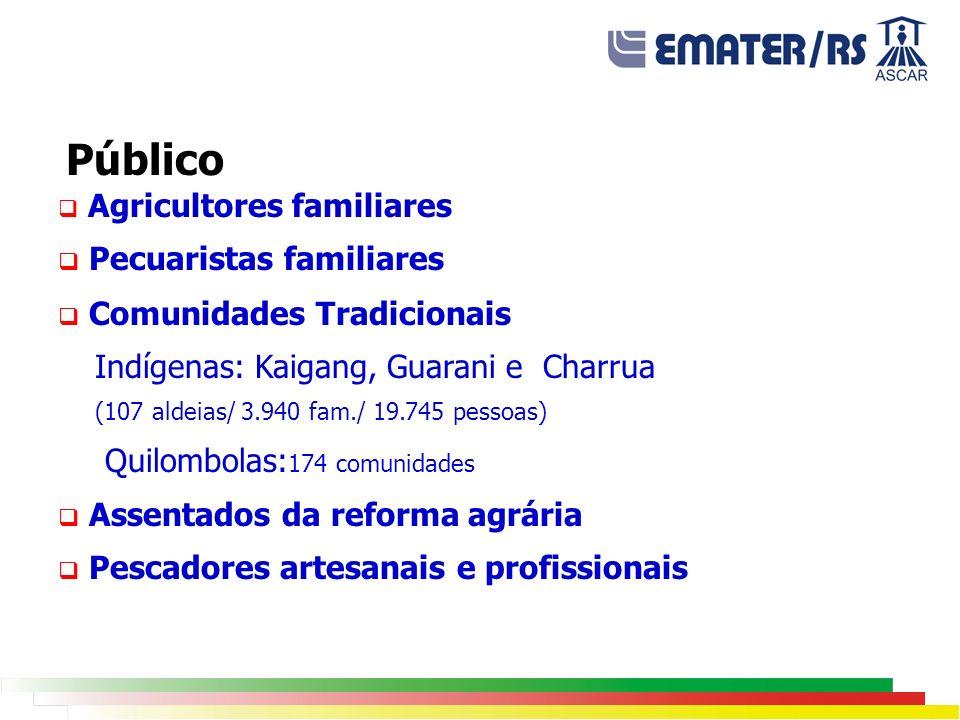 Agricultores familiares Pecuaristas familiares Comunidades Tradicionais Indígenas: Kaigang, Guarani e Charrua (107 aldeias/ 3.940 fam./ 19.745 pessoas) Quilombolas: 174 comunidades Assentados da reforma agrária Pescadores artesanais e profissionais Público