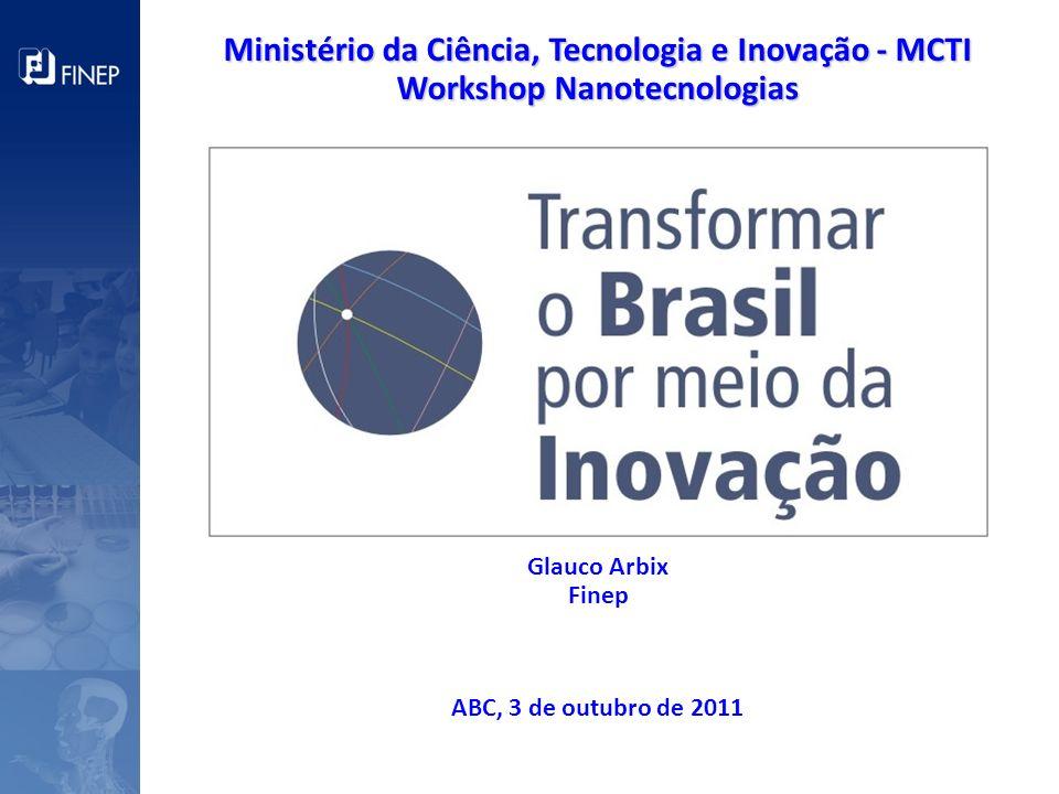 Ministério da Ciência, Tecnologia e Inovação - MCTI Workshop Nanotecnologias Glauco Arbix Finep ABC, 3 de outubro de 2011