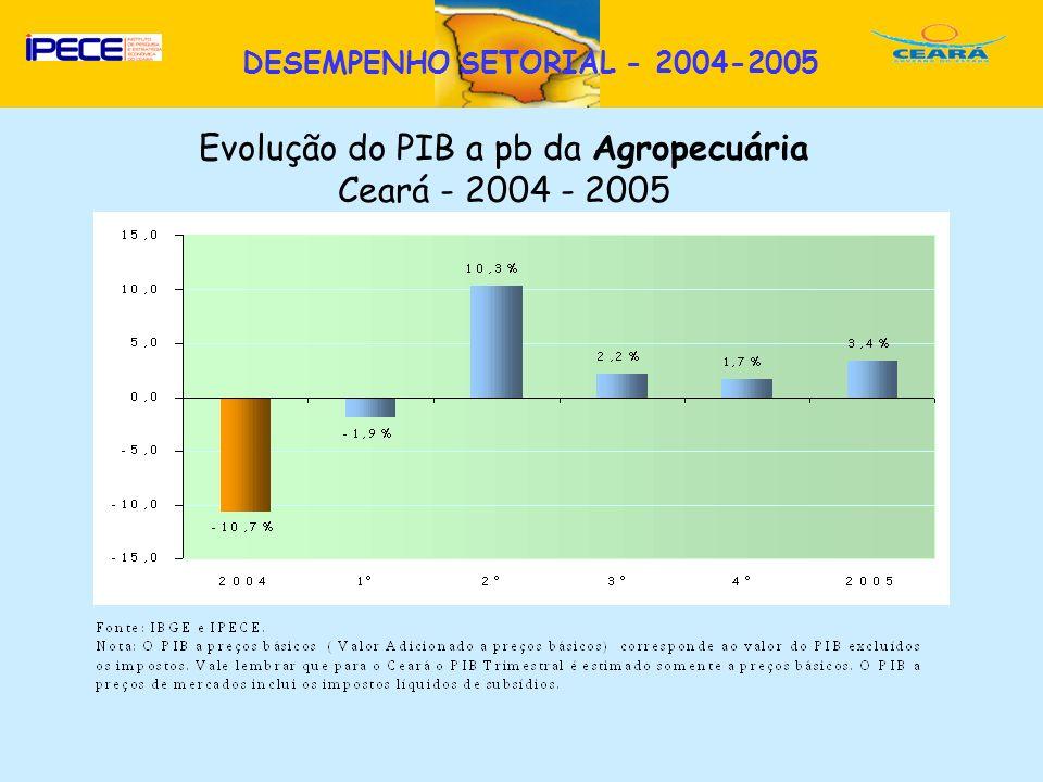 D DESEMPENHO SETORIAL - 2004-2005 Evolução do PIB a pb da Agropecuária Ceará - 2004 - 2005